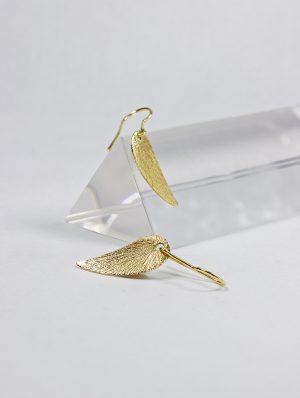 Pendientes de Oro 18k con forma de ala