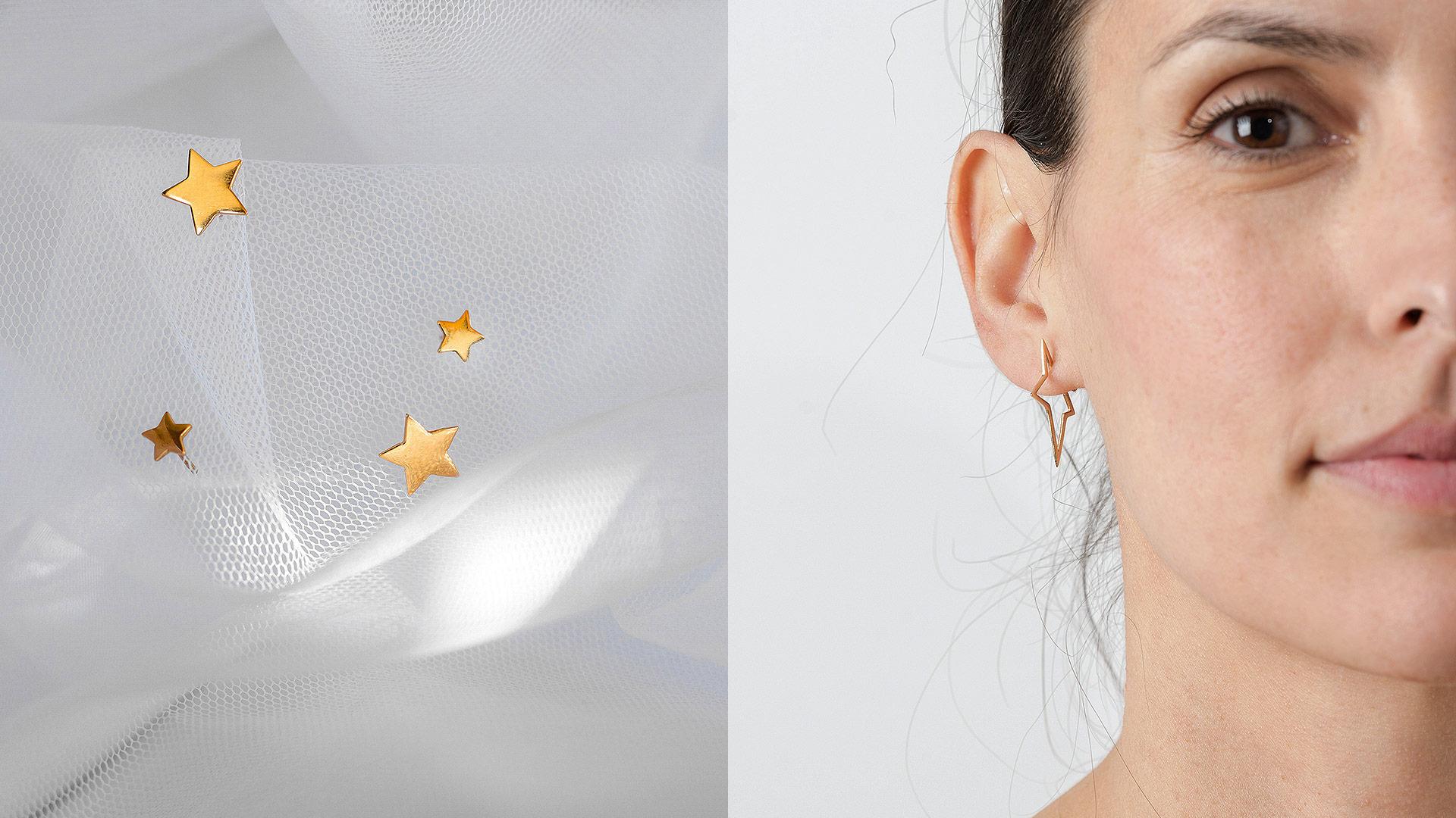 Pendientes Estrella de Oro 18k